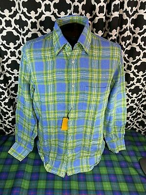 Robert Talbott CARMEL Blue Green Plaid LS Linen Dress Shirt - Sz. M - NWT