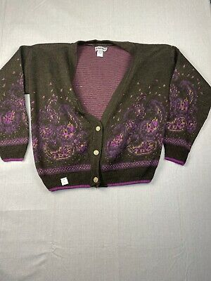 80s Sweatshirts, Sweaters, Vests | Women 1980s Deadstock Funky Cardigan Sweater Women's Large A1543 $32.00 AT vintagedancer.com