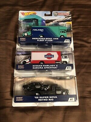 Hot Wheels Team Transports New mix,Fairlady Z, Fleet Flyer, Super Nova