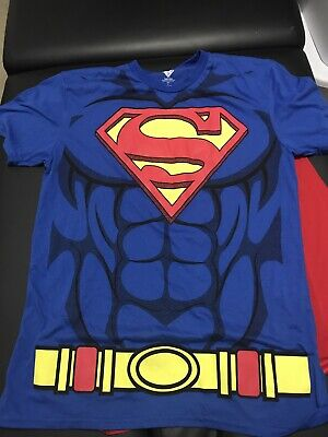 Men's Superman T-shirt with removable cape Large Cosplay halloween costume