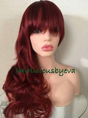 """Full Fringe Red /burgundy  Wig 20"""" inch long  wavy Wigs  With Bangs (Long Red Wig With Bangs)"""