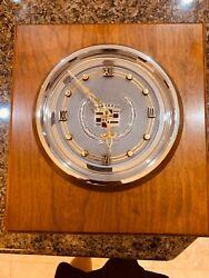 Rare Cadillac Dealer Wood Wooden wall clock 70's Large