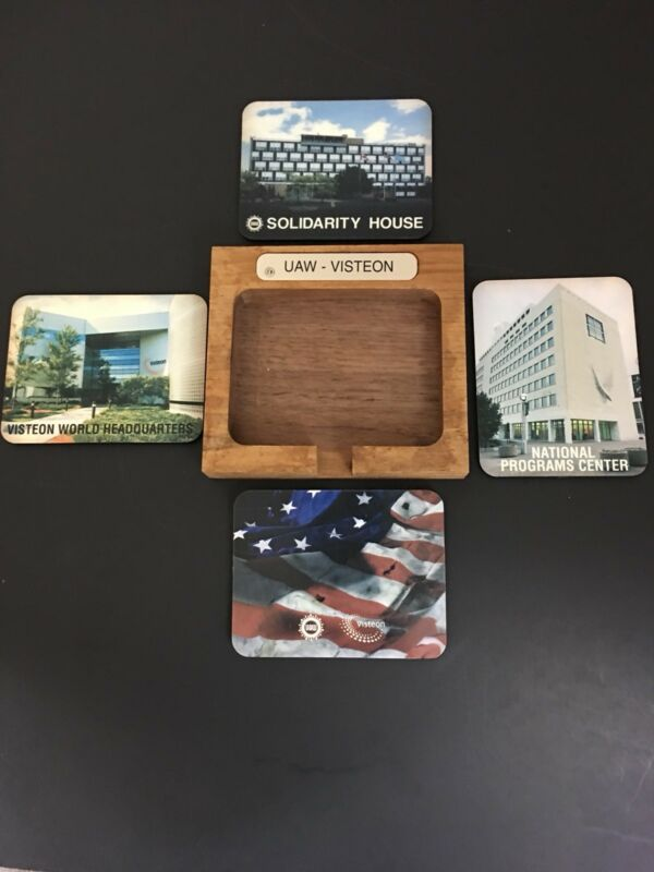 Vintage UAW Solidarity House Visteon Table Coasters In Wooden Box Holder