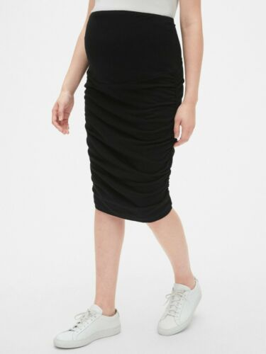Gap Maternity Full Panel Ruched Pencil Skirt Size S- Black- NWT