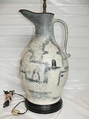 Vintage Arabic Camel Mosque Pottery & Brass Pitcher Table Lamp Signed BW Lowe
