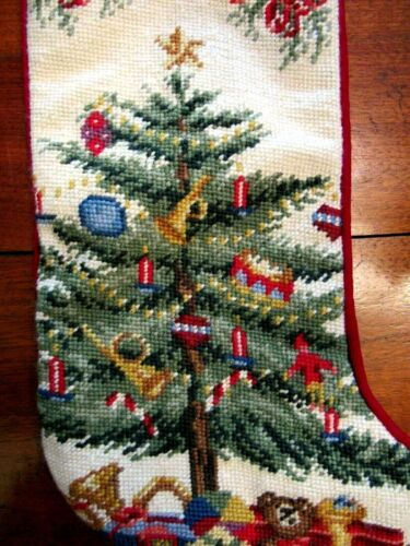 "VINTAGE Christmas  CHRISTMAS TREE W/PRESENTS Needlepoint Stocking 19"" WOOL"