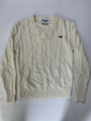Vintage Womens Lacoste Knit Pullover Sweater V Neck Size 38