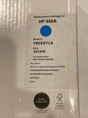 HP 650A Cyan Toner Cartridge LaserJet Tru Red Remanufactured Toner Recycled - $76.50