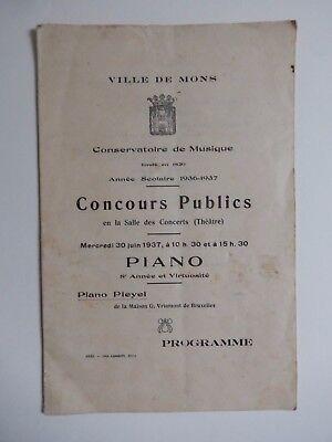 MONS / VILLE DE MONS CONCOURS PUBLIC DE PIANO 1936-37 PROGRAMME