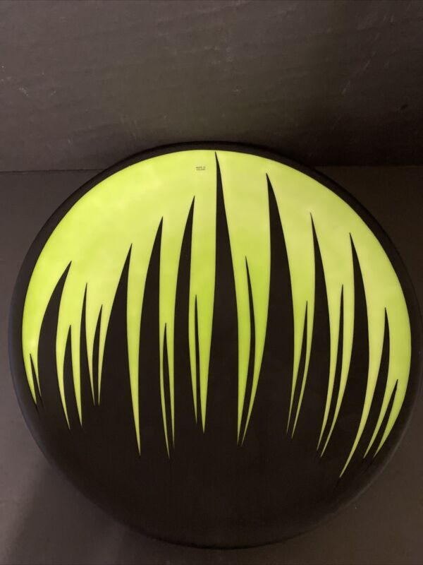 "Beautiful Lime Green And Black Glass Serving Plate  15"" Made In Poland"