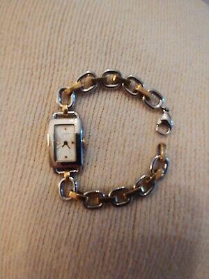 Women's COACH Two Tone Gold & Stainless Steel Chain Link Bracelet Watch Swiss