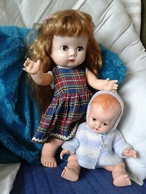 SWEET VINTAGE HARD PLASTIC BND DOLLS - 13 AND 10 INCHES