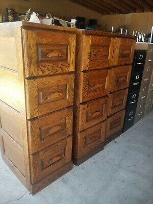 Solid Wood Oak 4 Drawer File Cabinets. Carved Wood Handles Legal or Letter Great
