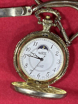 QUINTEL LUNAR PHASE MECHANICAL POCKET WATCH