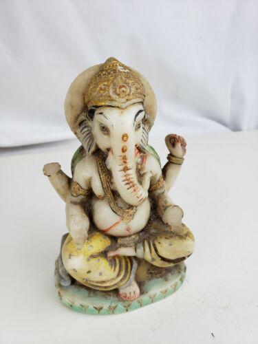 Vintage carved stone Ganesha figurine, antique Hindu