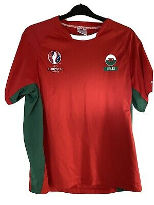 Wales Football Shirt Euro 2016 France Size L Large Red Green  image
