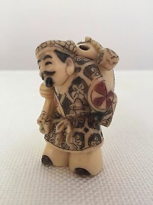 Old Chinese Lucky God Buddha Resin NETSUKE Figure ~ Signed
