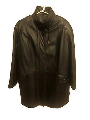 Pretty Face Black Leather Jacket Womens Size (L) Button Up