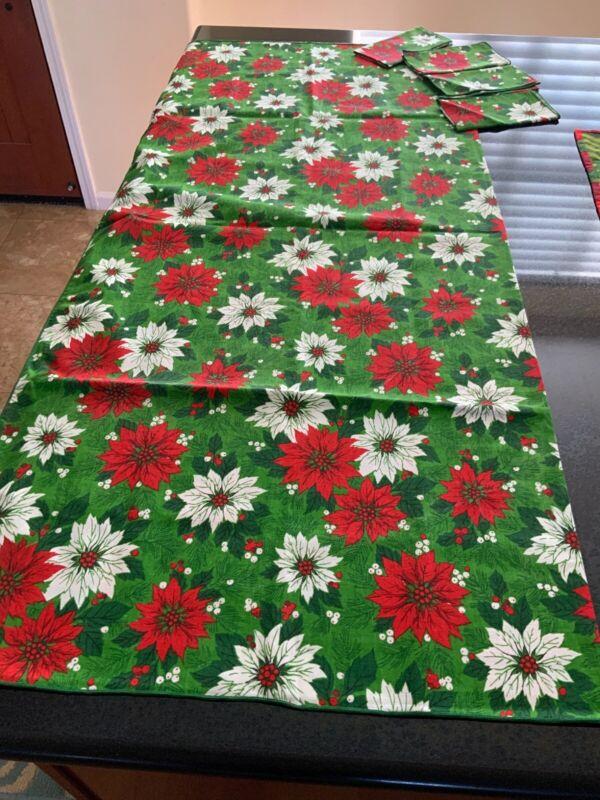 """Vintage Cotton Christmas Poinsettia Tablecloth-57""""X 52"""" Plus 4 Napkins!"""