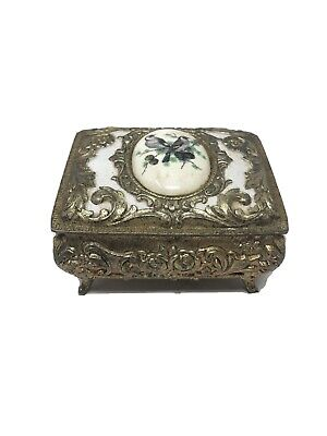Vintage Metal Music Box Ornate With Bird Design On Top With Sankyo Movement