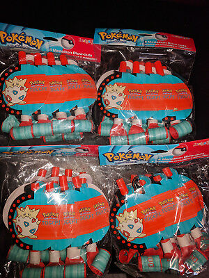 NEW 32 Pokemon Character Birthday Party Medallion Blowers Blow outs  (1998) rare