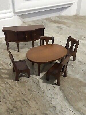 Dollhouse furniture, 6pcs Wooden Dining Table Chair Set & side board/buffet