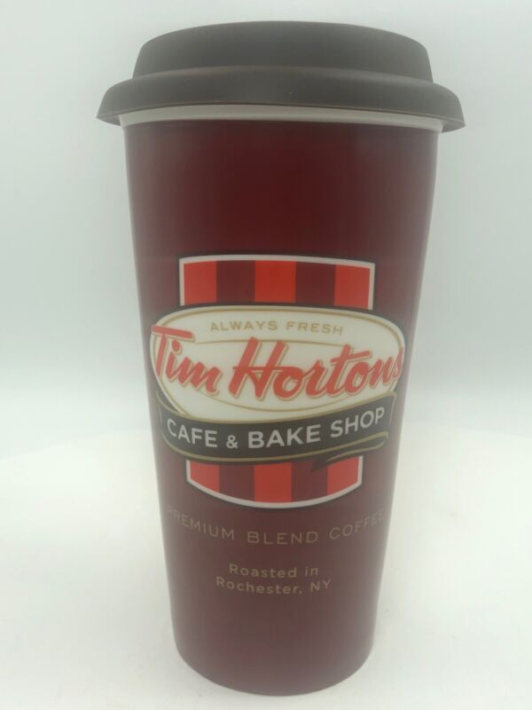 Tim Hortons Ceramic Travel Mug Cup Premium Coffee Roasted in Rochester 2011 RARE