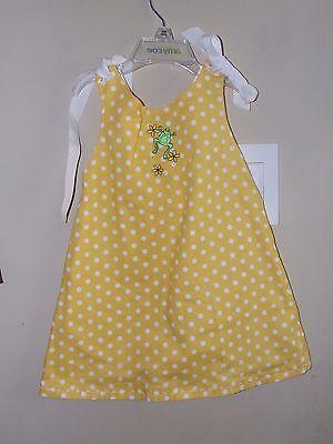 Three Sugar Plums 3T Frog Dress Yellow Polka Dots White Ribbons Bows Swing Top  ()