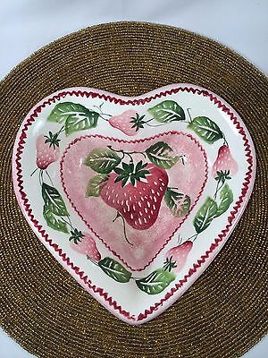 European Pottery Heart Shaped Bowl w/Strawberries by Ancora Made in Italy