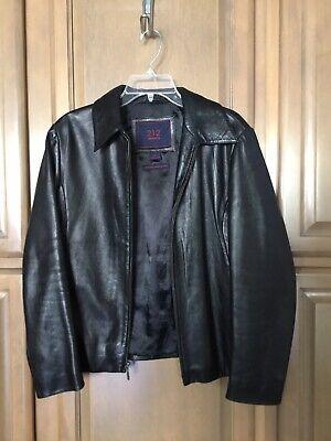 Womens Black Full Zip Lined Genuine Lambskin Leather Jacket Size L ~ 212 AMERICA Lined Lambskin Leather