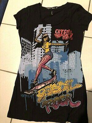 Crystal Rock Christian Audigier T-Shirt schwarz mit Motiv Strass dG L Kurzarm NW Christian Audigier Crystal Rock