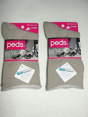 Women's Peds Roll Top Casual Khaki Crew Socks - 4 Pair - Sho