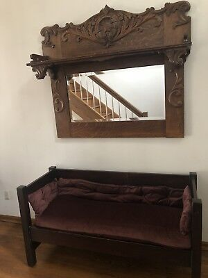 Antique Hand Carved Oak Wood 2 Piece Mirror And Bench