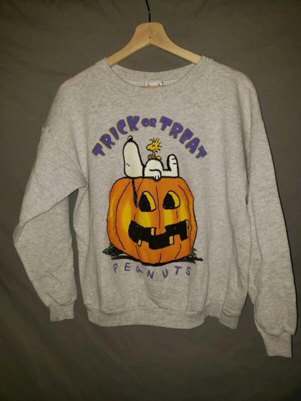 Peanuts Snoopy Woodstock Youth XL Sweatshirt Halloween Vtg 90s Runs Small
