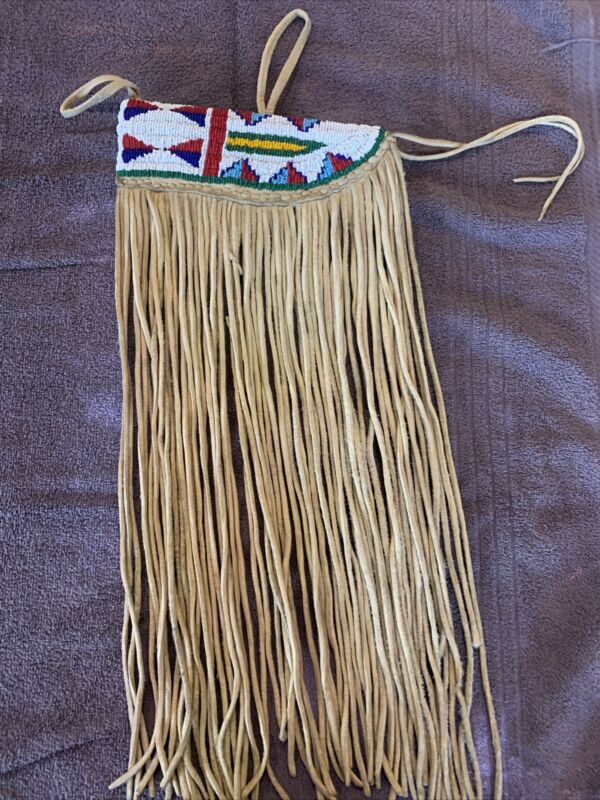 NATIVE AMERICAN BEADED LEATHER KNIFE SHEATH, with NECK STRAP,