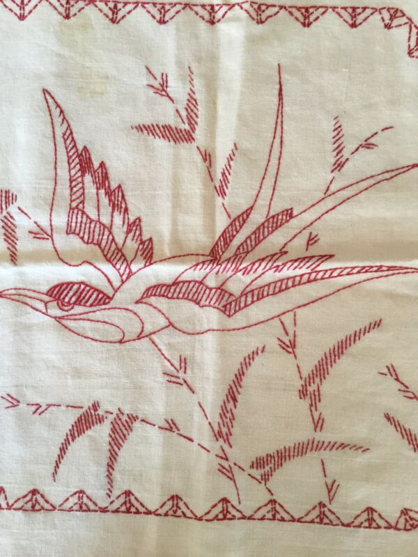 Antique Vintage Red Work Embroidery BIRD Linen Pillow Topper Not Finished Lovely