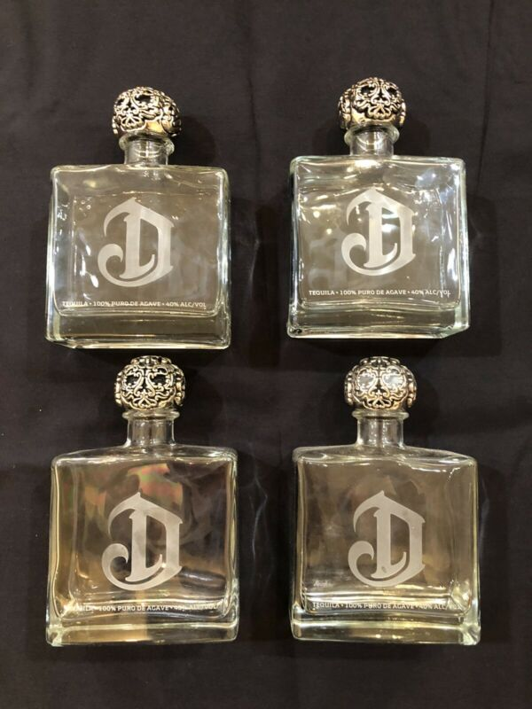 "4 Empty Deleon ""D"" Tequila Blanco Platinum Bottle 750 ML Agave Decanter W/ Top"