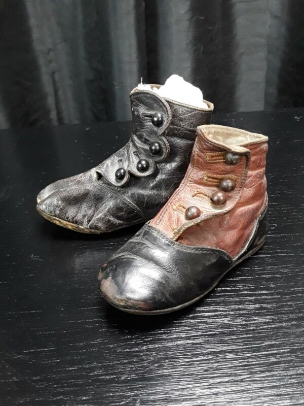 Victorian Baby Shoes, Brown Leather Childrens Vintage Shoes Unmatched Lot Of 2