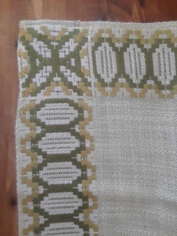 "Vintage MCM Tischdecke Tablecloth  61"" x 50"" Light Avocado Green German"