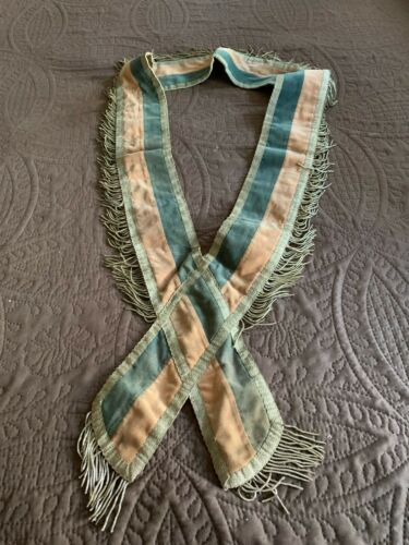 Antique Fraternal Collar 2 Tone Silk Velvet Metallic Lace + Fringe Trim