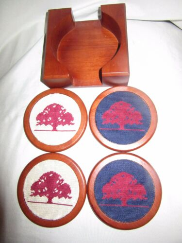 SMATHERS & BRANSON HAND-STICHED NEEDLEPOINT WOODEN COASTER SET OF 4