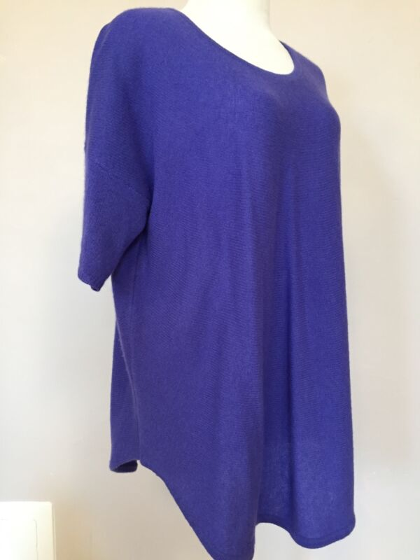 White + WARREN sz L maternity circle sweater bright purple 100% cashmere soft