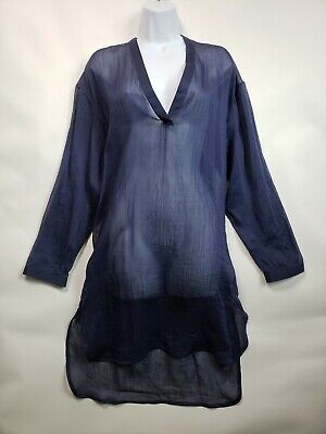 Isabel Benenato Women's navy blue low high V-neck tunic dress Size 38