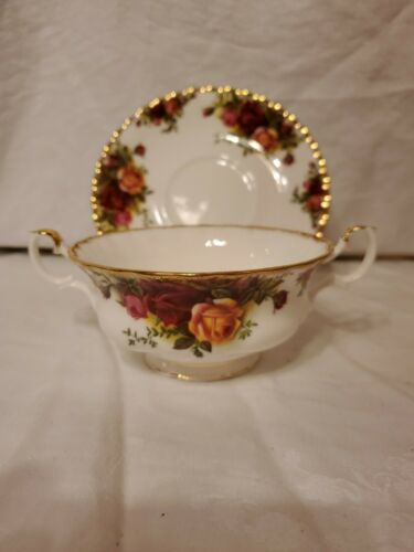 Royal Albert Old Country Roses Footed Cream Soup Bowl And Saucer Set, Bone China - $52.50