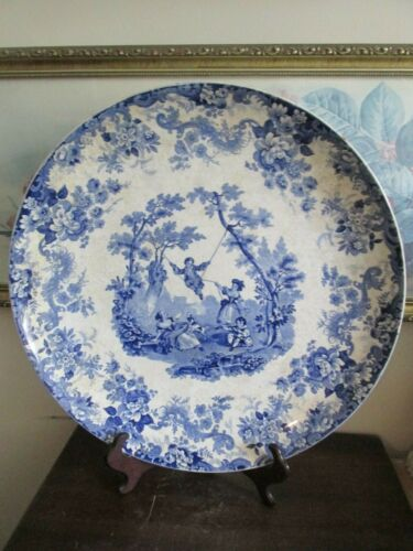 """Rare Antique Minton England Hand Painted Charger Plate Blue Scene Flowers 15"""""""