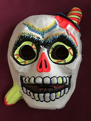 USA Made Skeleton Molded Plastic Haloween Mask Neon 29 Cent Original - Haloween Usa