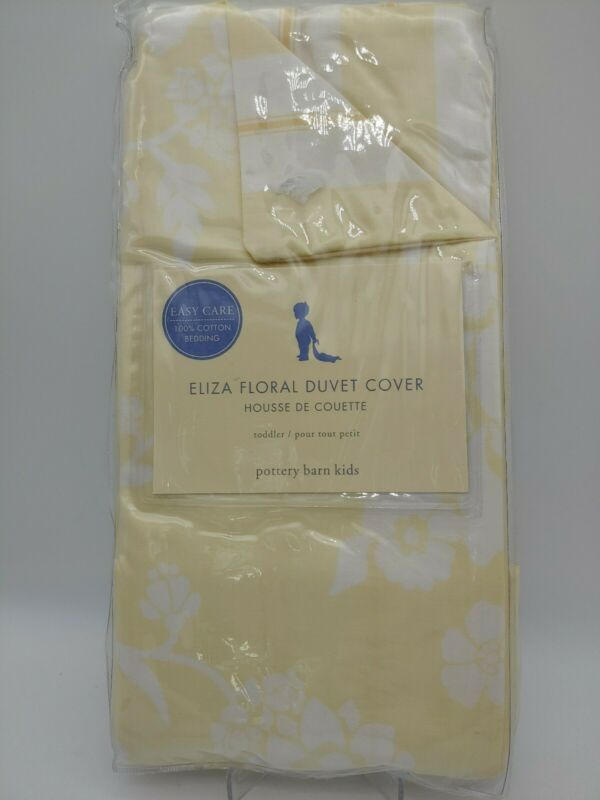 Pottery Barn Kids Yellow and White Eliza Floral Cotton Toddler Duvet Cover New