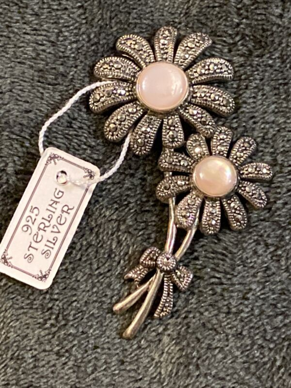 Vtg Sterling silver mother of pearl marcasite flower pin brooch 15.5 grams
