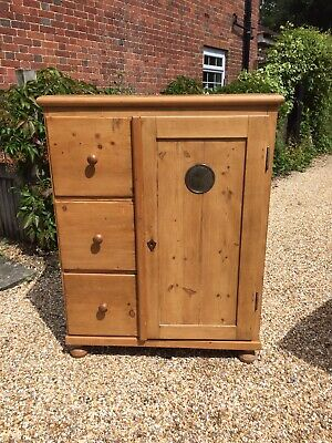 Large Antique Pine Larder / Food Cupboard / Wardrobe With 3 Deep Drawers