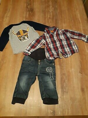 Cooles Outfit für Jungen (3 tlg.), Jeans + Hemd + Langarmshirt, Gr. 74
